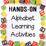These hands-on alphabet learning activities help me introduce the alphabet to my toddlers and preschoolers long before they are ready to learn to read.