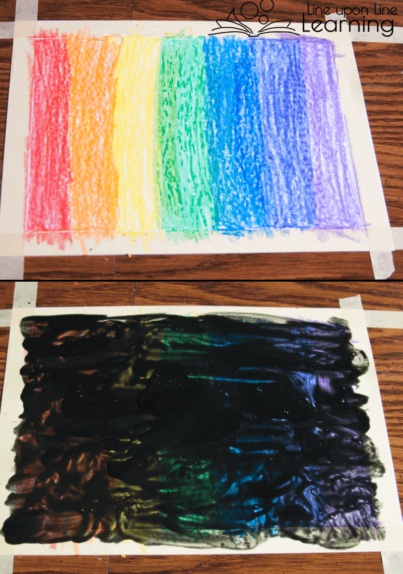 We made our own scratch boards with crayons and paint.