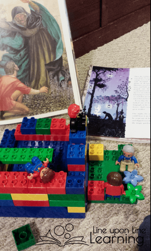 Part of our Rapunzel engineering challenge: The mother is on a wall overlooking a garden. The father has encountered the witch, who demands their unborn baby!