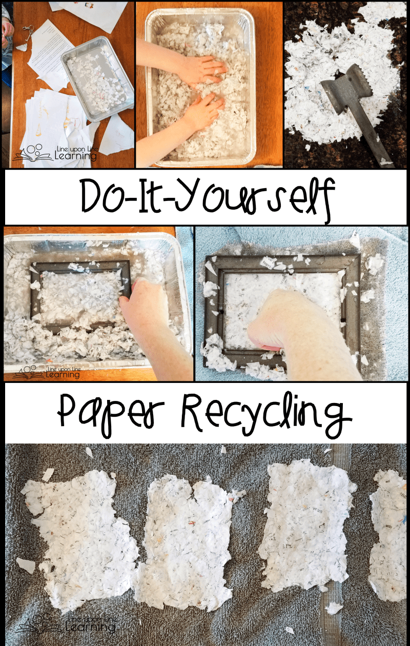 We ripped up old worksheets and coloring pages we'd made to try our hand at recycling paper. I made a mould with a picture frame