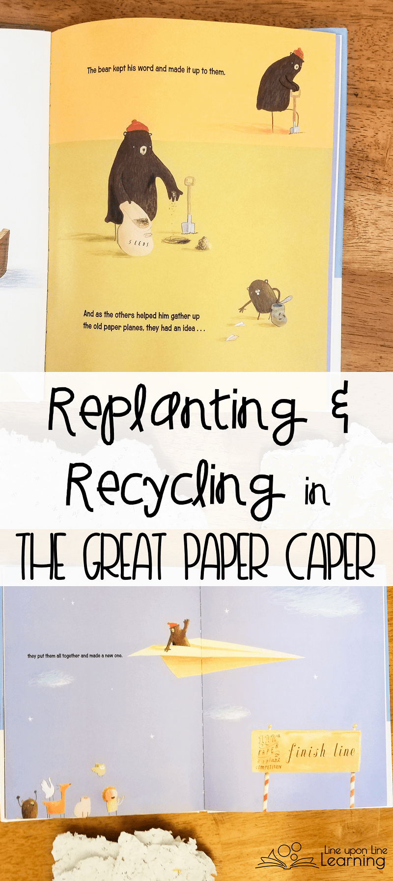 The Great Paper Caper is a great book to talk about replanting trees and recycling paper. It's also a spring board for us to try our own recycled paper.