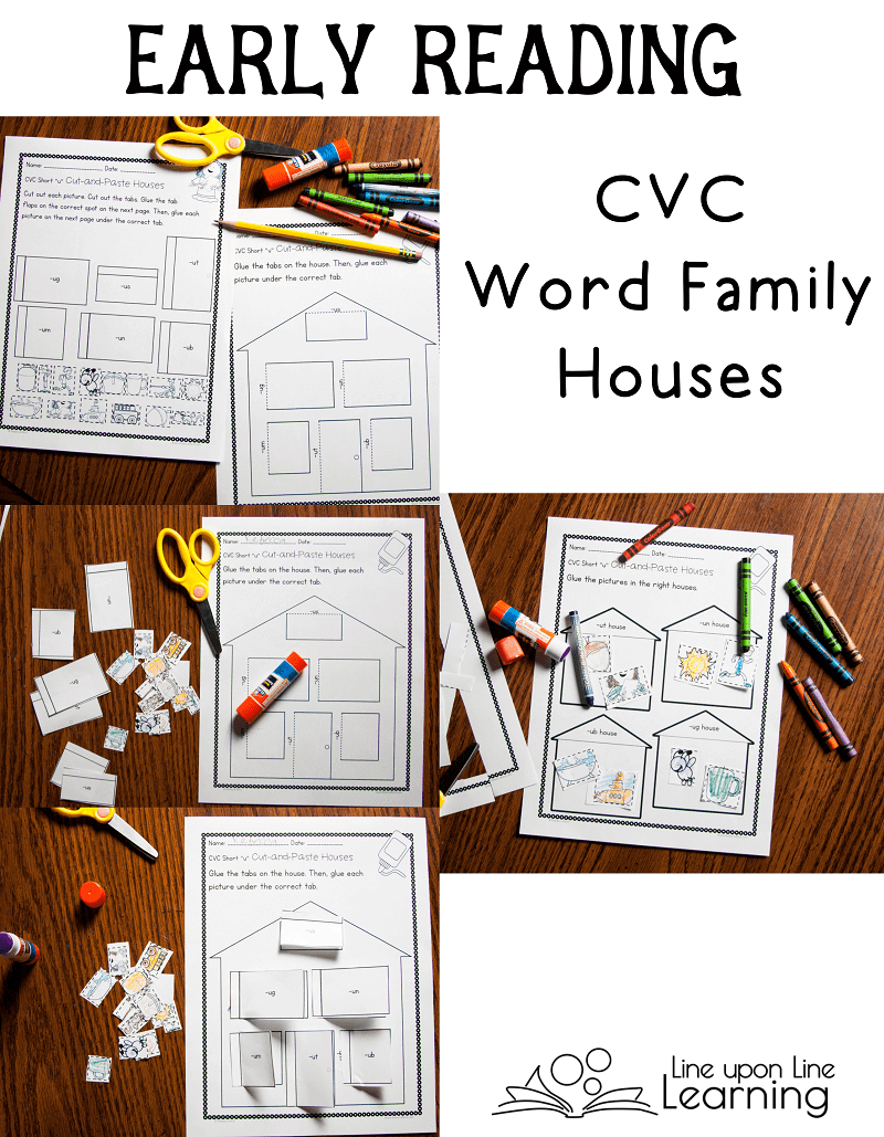 "We sort CVC words into the correct ""house"" in this cut-and-paste, early reading cvc activities set."