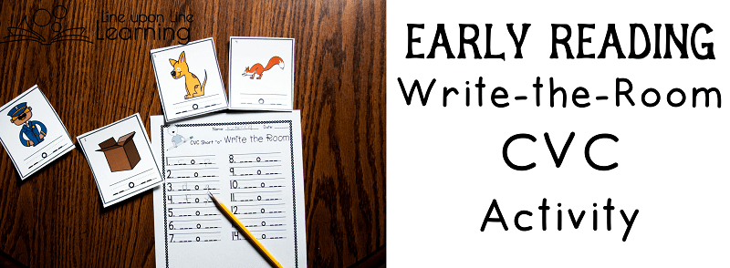 Once we're a little more confident in writing, we can practice our early reading skills with a write-the-room cvc activity. We have two versions: one with the center vowel and one without.