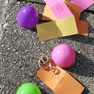 Double Gross Motor Early Reading Egg Hunt