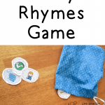 """Picture book-inspired rhyming game! We draw a """"dust cloud"""" from the bag. We say a rhyming word for each picture we see. But watch out! If you draw a broom or vacuum, all your dust gets put back in the bag! Fun activity to go along with Rhyming Dust Bunnies by Jan Thomas."""