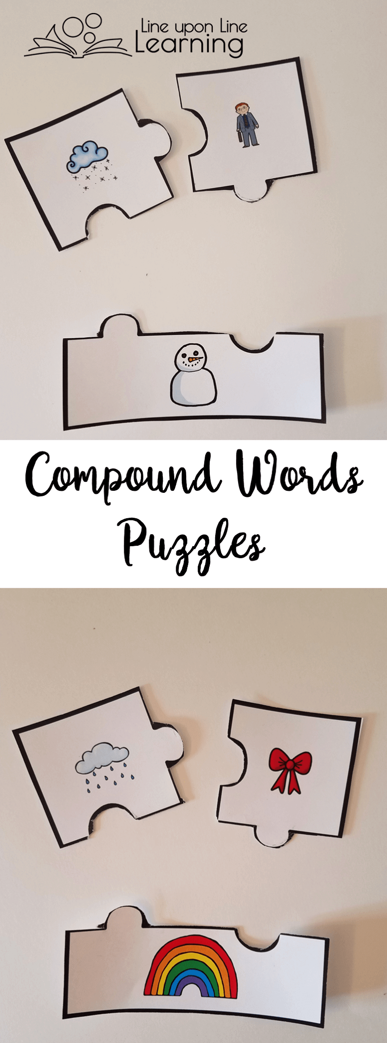 We pieced together compound words by finding the two parts and the whole in the compound word puzzles. A great pre-reading activity!
