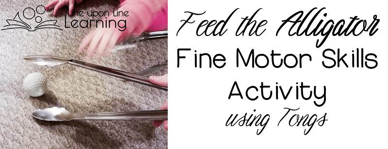 "Use tongs to play an alligator fine motor skills game as you ""eat"" treats."