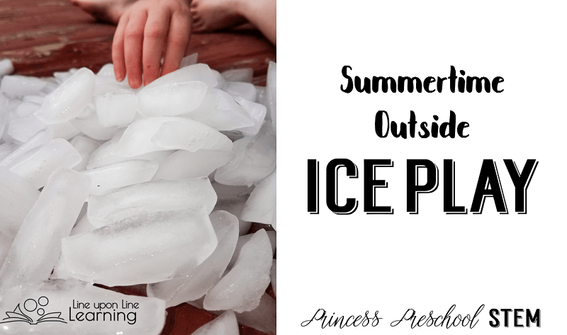 Outside ice play is a simple activity to keep kids busy during hot summer days.