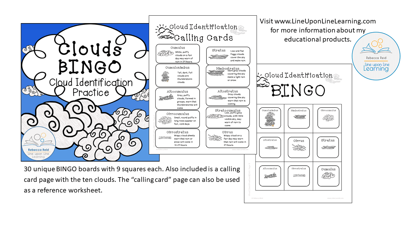 worksheet Clouds Worksheet clouds identification bingo cards 30 unique line upon next