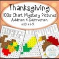 hundreds chart add subtract thanksgiving COVER