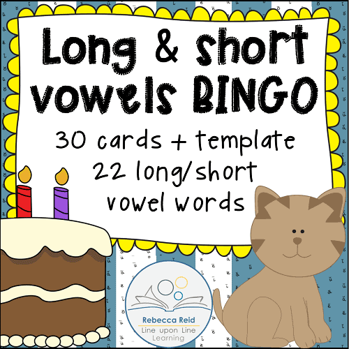 picture regarding Printable Short Vowel Games identify Very long vs Brief Vowels BINGO Match Playing cards