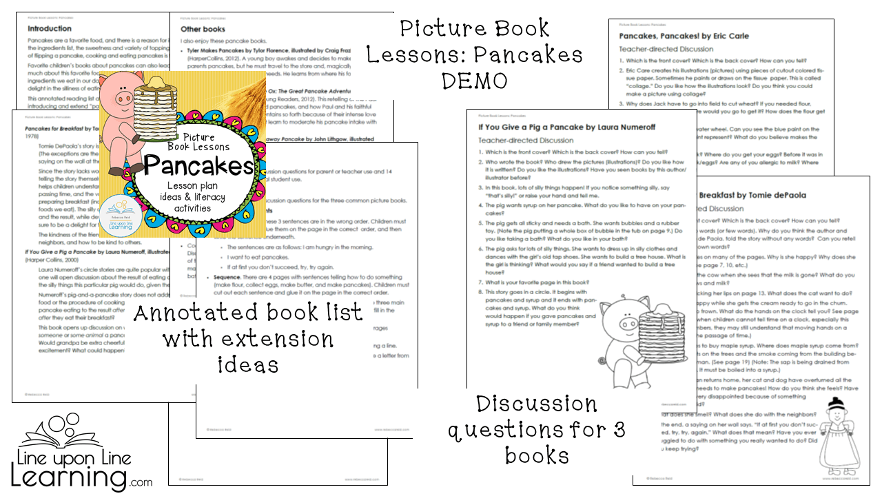 Pancakes Literature Lesson Plan And Language Arts Printables Line Upon Line Learning