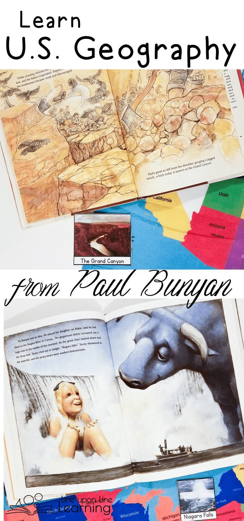 "As we read the tall tales about Paul Bunyan (and his family!) we find the places where he traveled and the landmarks that he ""created."""