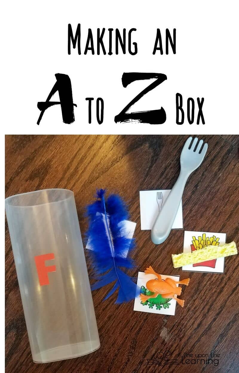 In our A to Z Box, we have a canister for each letter of the alphabet. There are pictures and small toys to handle as we learn the letter sounds and names.