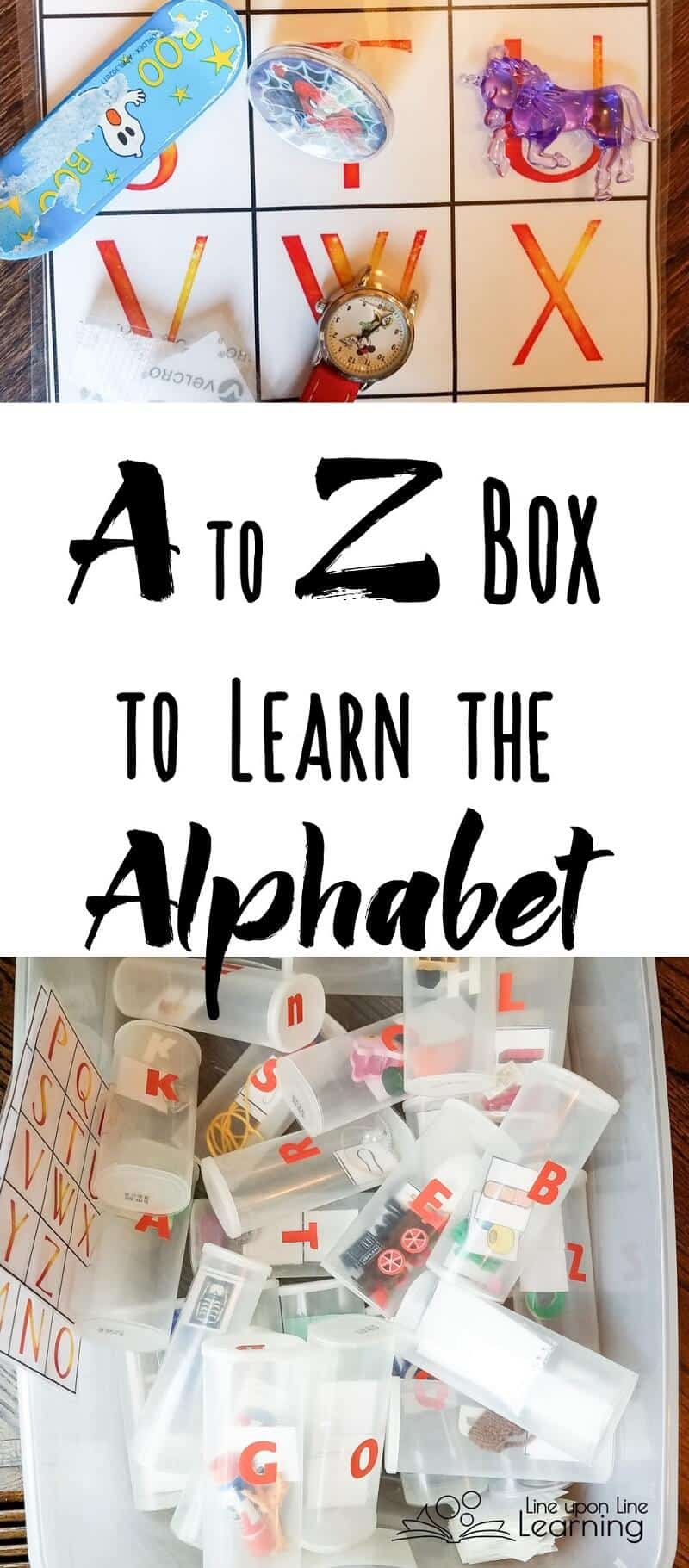 Making an alphabet box has helped make a hands-on alphabet learning experience. We love our A to Z box, full of trinkets to play with (as we sort and alphabetize!)
