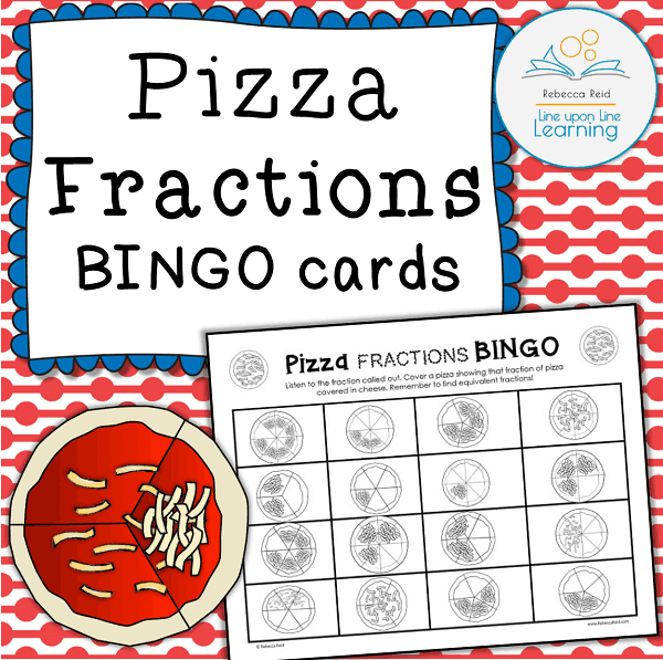 fraction bingo boards pizza line upon line learning. Black Bedroom Furniture Sets. Home Design Ideas