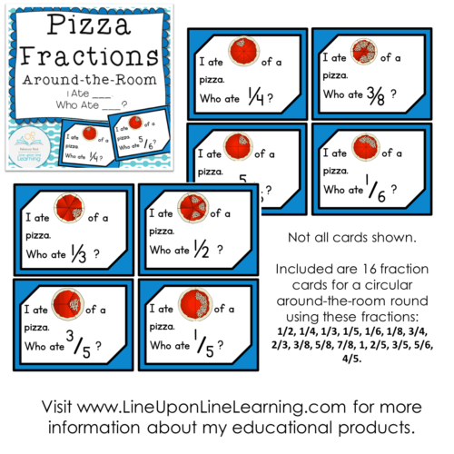 Fractions Posters, Games, and Worksheets (Pizza Theme) – Line upon ...