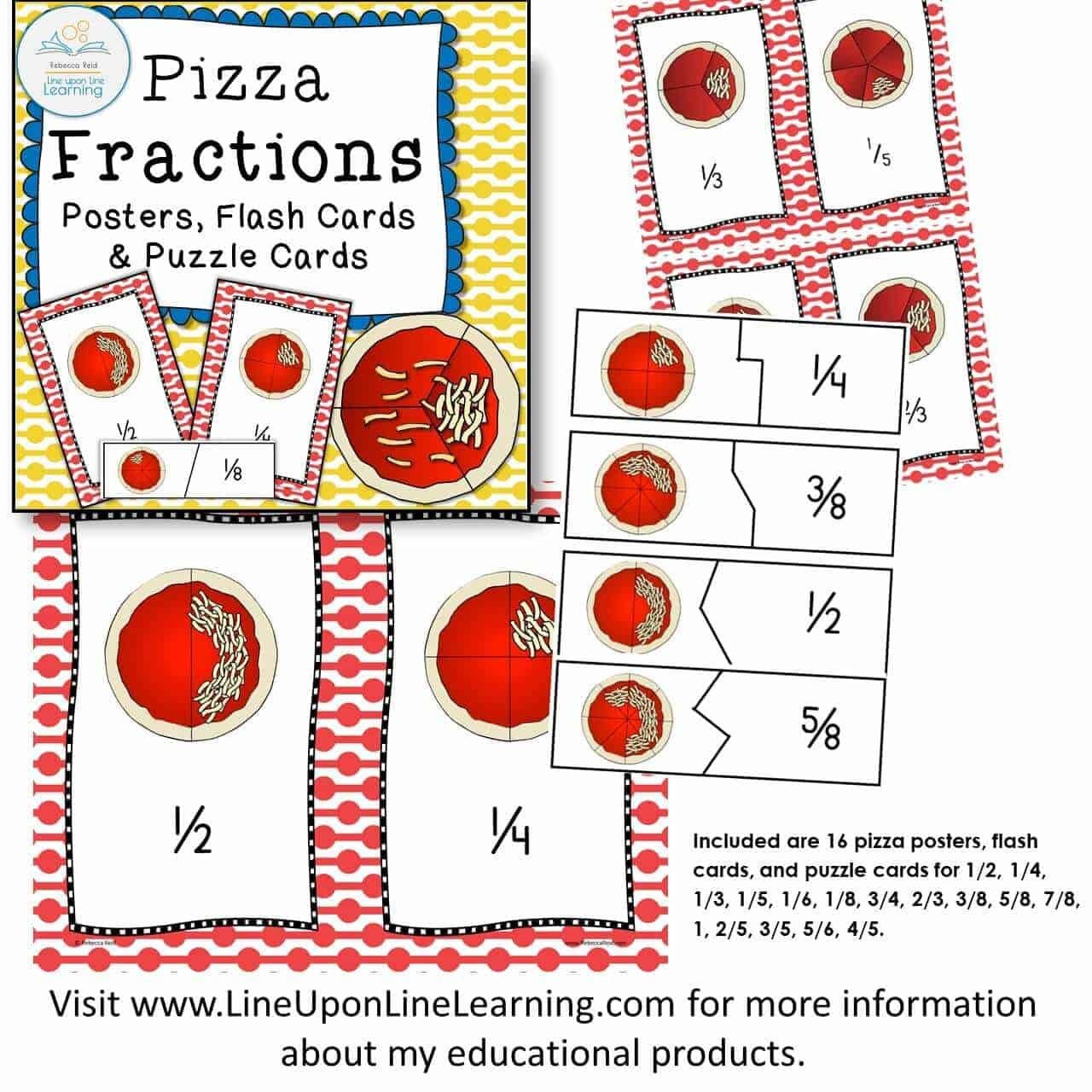 photograph regarding Fraction Bingo Printable known as Fractions Posters, Online games, and Worksheets (Pizza Concept) Offer