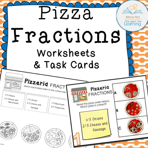 pizza fractions worksheets task cards COVER