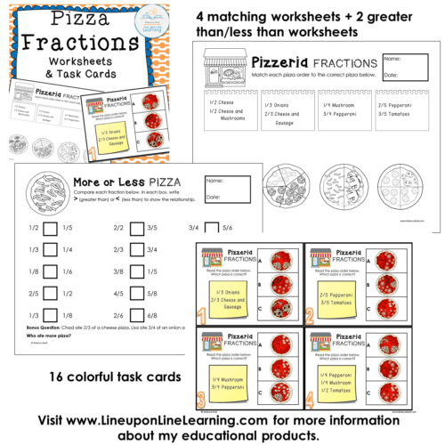 Fractions Posters, Games, and Worksheets (Pizza Theme ...