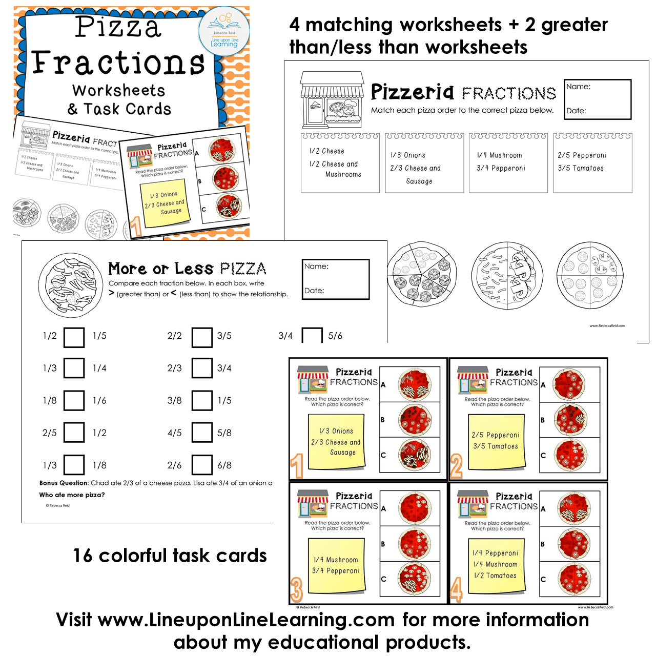 worksheet Less Than Worksheets fractions posters games and worksheets pizza theme line upon previous