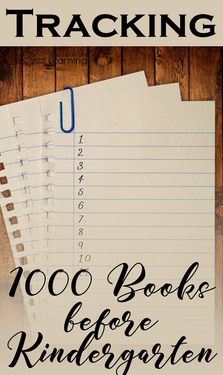 You can track the 1000 books read before kindergarten on a handy chart or digitally. Download the free option I made for you!