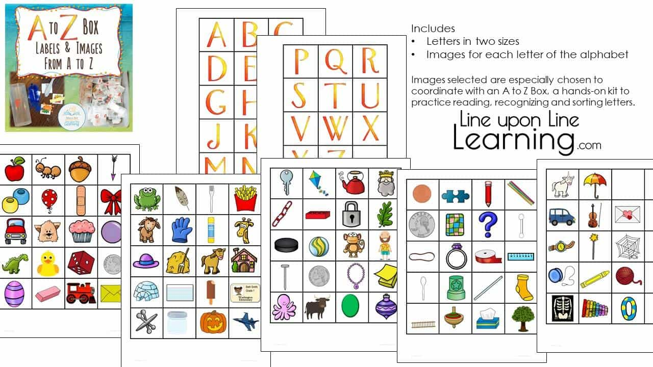 A to Z Box Alphabet Labels and Images