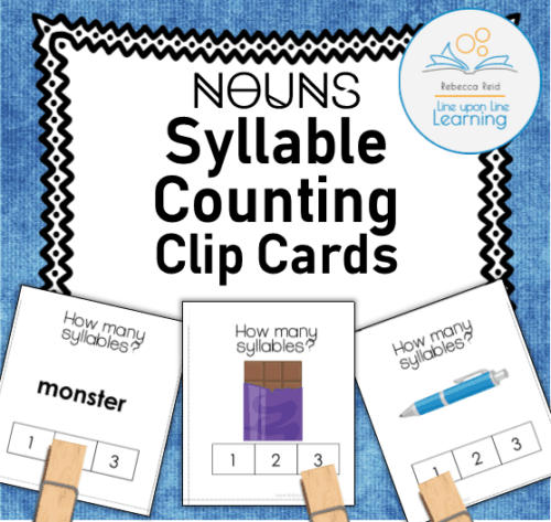 syllable counting clip cards nouns COVER