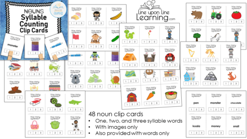 Premise Indicator Words: Syllable Counting Clip Cards (Nouns)
