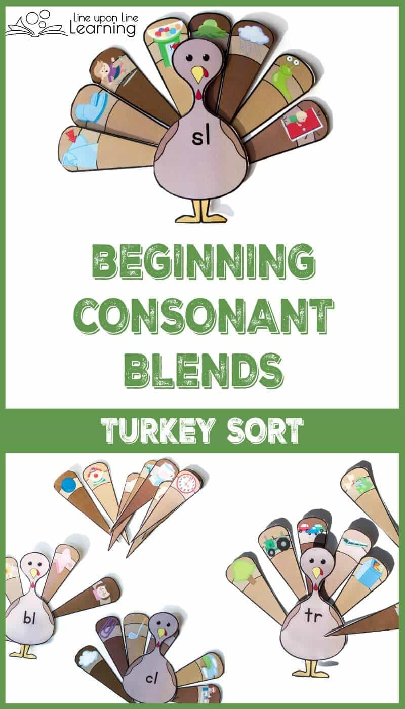 This beginning consonant blends activity is a fun way to practice recognizing the beginning sounds at the start of familiar words. Sort the turkey feathers to the correct blends turkey.