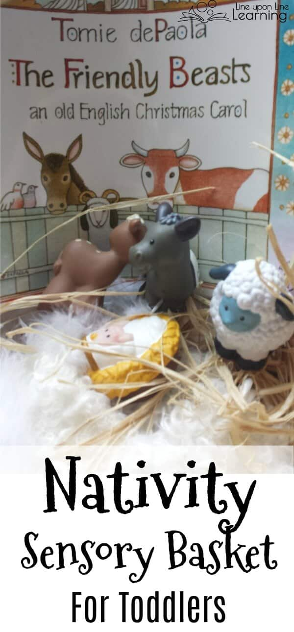 This Nativity sensory basket for toddlers simulates the feel of the barn with feathers, wool, hay, and a wooden basket. Inspired by the carol, The Friendly Beasts.