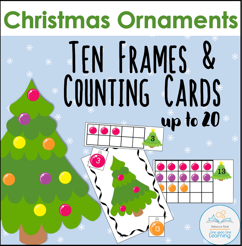 Christmas Ornaments Ten Frames and Counting Cards – Line upon Line ...