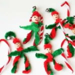 Pipe cleaner elf ornaments are an easy pipe cleaner Christmas craft to do with young children. A little bit of pipe cleaner twisting and you've got a cute gift or ornament.