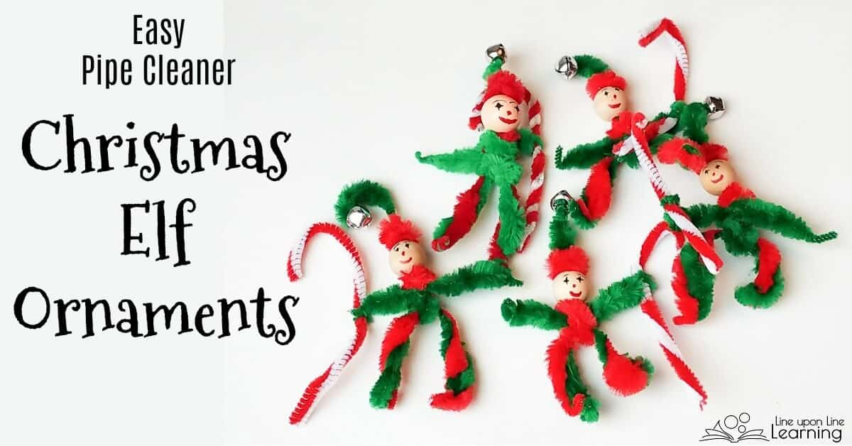 pipe cleaner elf ornaments are an easy pipe cleaner christmas craft to do with young children
