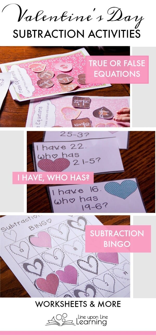 We review subtraction with Valentine's Day themed activities and worksheets, including subtraction BINGO, and subtraction true/false equations.