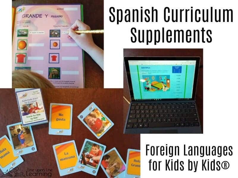 Workbooks, flashcards, online activities all help my kids learn Spanish online with Foreign Languages for Kids by Kids.