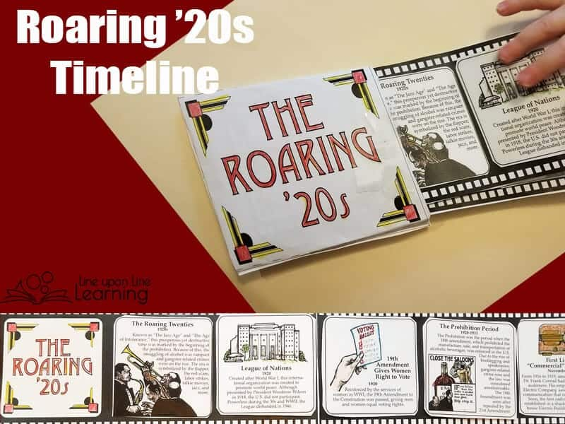 The Roaring Twenties outline helped us put in perspective the major events that happened during the 20s in America. It was a lot of fun to color, and we loved that it looked like a movie filmstrip.