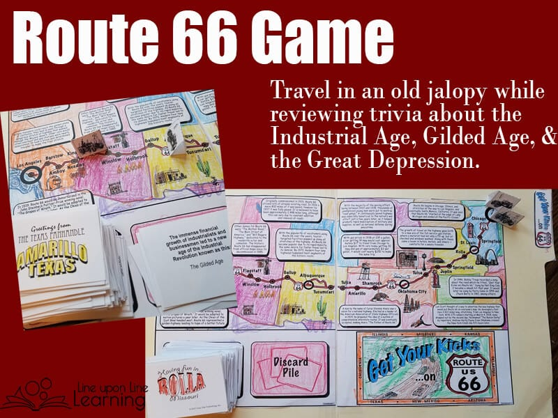 Get Your Kicks on Route 66 in an old jalopy. We loved traveling across the country from Chicago to California as we learned about the Great Depression migration and the eras leading up to it via this fun trivia file folder game!