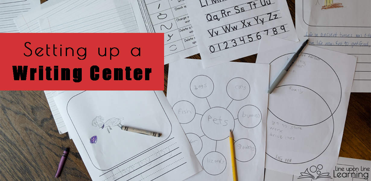 Adding writing paper with a variety of layouts, brainstorming pages, pencils and pens, and other writing helps will encourage students in their creative writing. Here's how we set up our writing center!