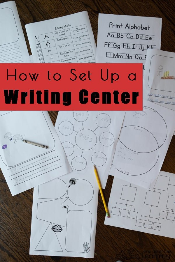 Here's how I set up our writing center! With creative writing paper, brainstorming pages, and other editing helps, plus fun pens and pencils for writing, students have freedom to write creatively.