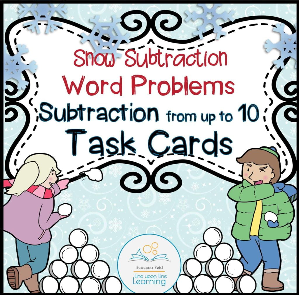 Snow Subtraction Word Problems Task Cards (from Up To 10