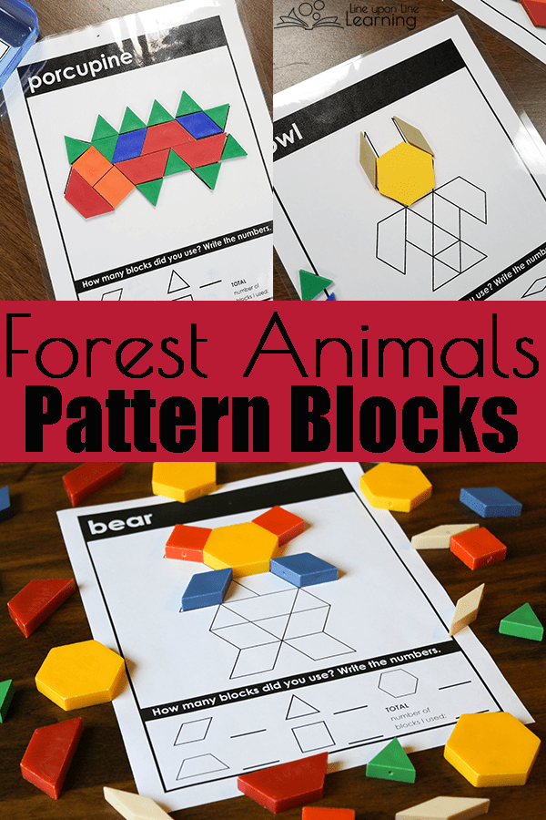 We can identify the animals as we practice putting them together with my forest animals pattern blocks.