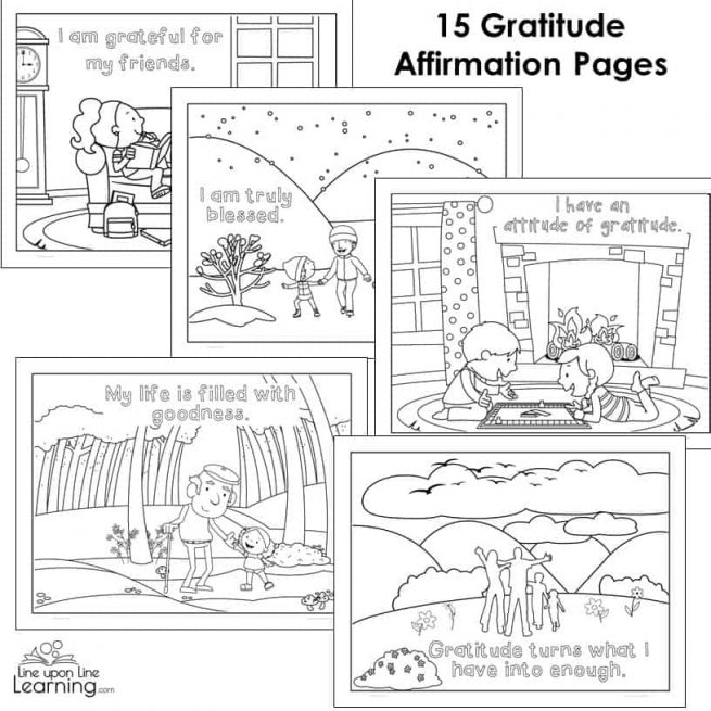 Gratitude Coloring Pages for Young Children - Line upon ...