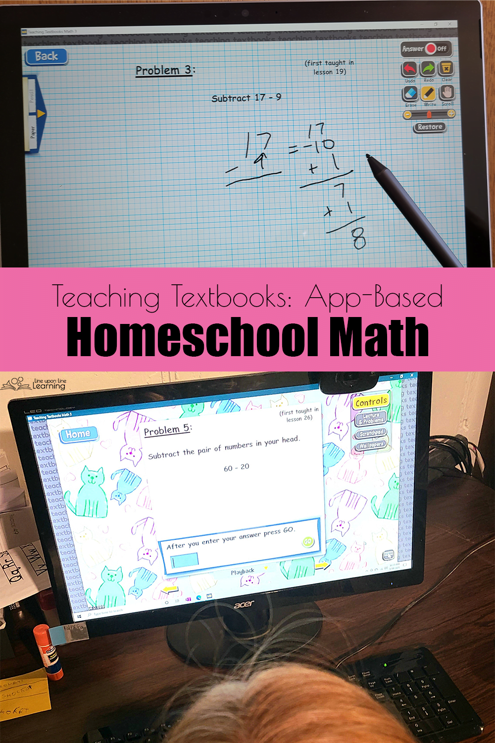 My daughter can do her homeschool math on the tablet or the computer.
