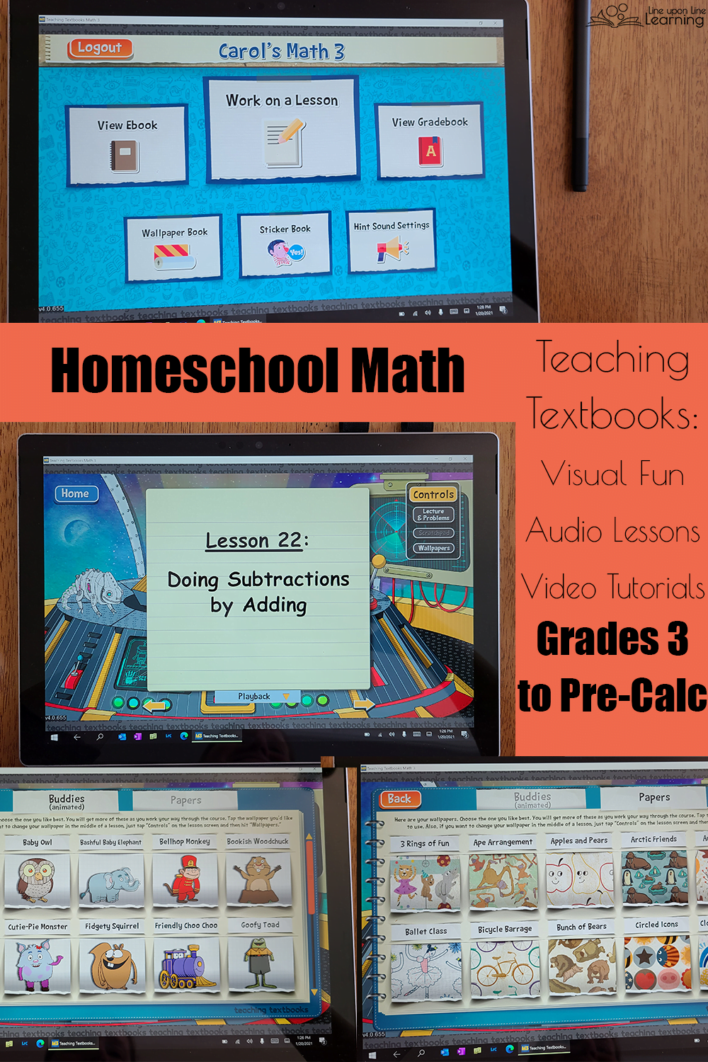 Teaching Textbooks homeschool math is visually engaging as well as full of audio and visual helps  for the struggling learner.